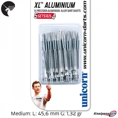 Unicorn XL Aluminium Shaft - Medium - silber 78289 Sparpack