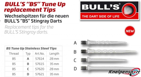 "BULL'S ""B5"" Tune Up replacement Stahlspitzen Grip A Short silber 57614 Featured 1"