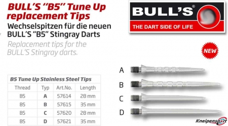 "BULL'S ""B5"" Tune Up replacement Stahlspitzen Grip B Medium silber 57615 Gruppe 1"