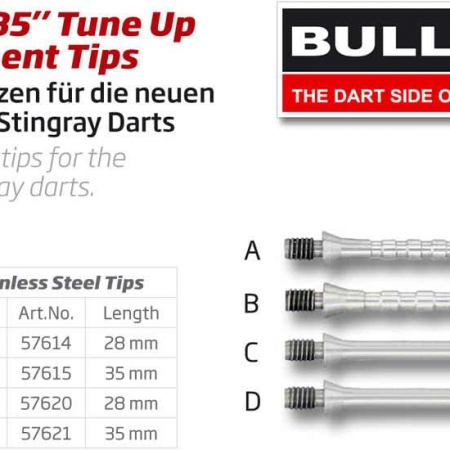 "BULL'S ""B5"" Tune Up replacement Stahlspitzen Grip B Medium silber 57615 Gruppe 1"