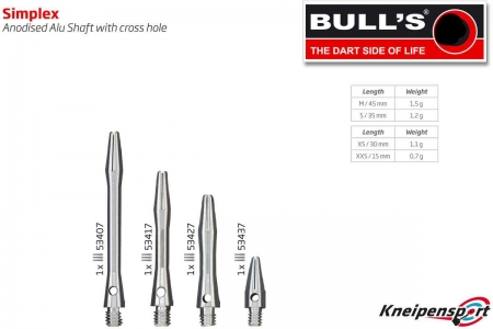 BULL'S Simplex Aluminium Shaft Medium silber 53407 Featured 1